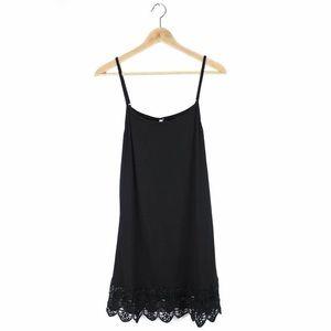 Black Lace Trimmed Cami Tank Dress